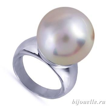 """Кольцо с жемчугом """"Майорка"""", цвет перламутра бежево-розовый, покрытие: родий - фото 4451"""