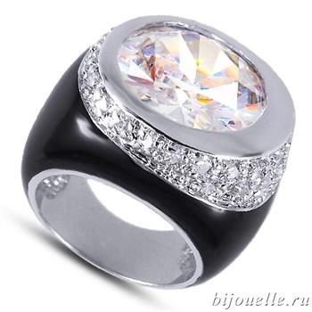 Кольцо с белыми цирконами и черной эмалью, покрытие: родий - фото 4453