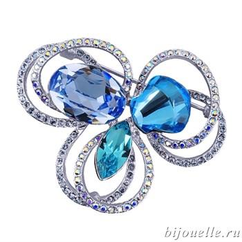 """Брошь ручной работы """"Лазурный цветок"""" с кристаллами Swarovski, цвет голубой, микс, покрытие: родий - фото 4455"""