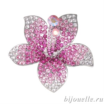 """Брошь """"Розовый цветок"""" с кристаллами Swarovski, цвет розовый, покрытие: родий - фото 4457"""