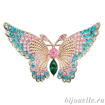"""Брошь """"Бабочка"""" с кристаллами Swarovski, цвет синий, розовый, покрытие: золото - фото 4458"""