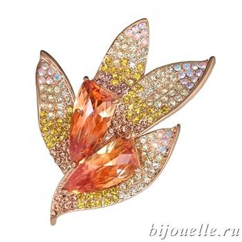 Брошь с кристаллами Swarovski, цвет шампань, микс, покрытие: золото - фото 4460