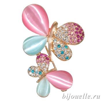 Брошь с кристаллами Swarovski и улекситом, цвет микс, покрытие: золото - фото 4463
