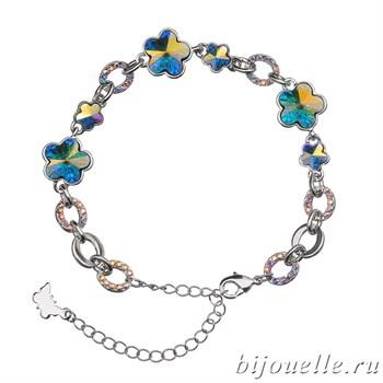 Браслет с кристаллами Swarovski, цвет сине-желтый хамелеон, покрытие: родий - фото 4466