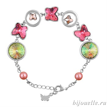 Браслет с кристаллами Swarovski, цвет микс, покрытие: родий - фото 4468