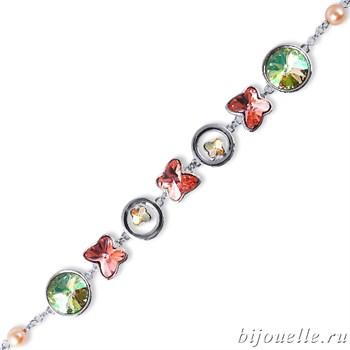 Браслет с кристаллами Swarovski, цвет микс, покрытие: родий - фото 4469