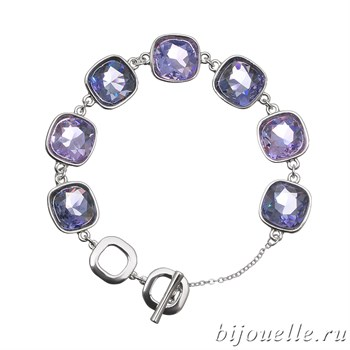 Браслет с кристаллами Swarovski, цвет сиреневый, фиолетовый, покрытие: родий - фото 4470