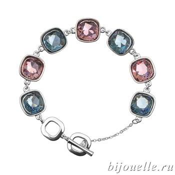 Браслет с кристаллами Swarovski, цвет голубой, сиреневый, покрытие: родий - фото 4472