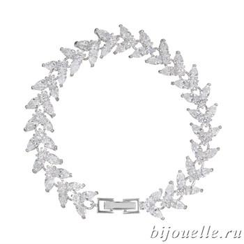 Браслет с белыми цирконами, покрытие: родий - фото 4479
