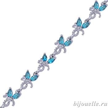 Браслет с цирконами, цвет темно-голубой, покрытие: родий - фото 4484