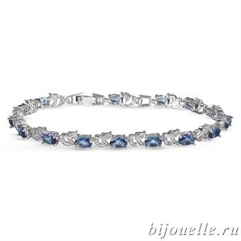 Браслет с цирконами, цвет синий, покрытие: родий - фото 4487