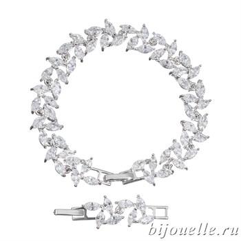 Браслет с цирконами, цвет белый, покрытие: родий - фото 4499