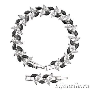 Браслет с цирконами, цвет черный, белый, покрытие: родий - фото 4500
