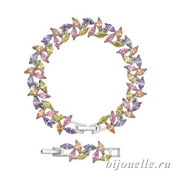 Браслет с цирконами, цвет микс, покрытие: родий - фото 4502
