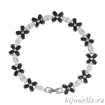 Браслет с цирконами, цвет черный, белый, покрытие: родий - фото 4509