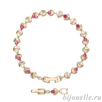 Браслет с цирконами, цвет малиновый, покрытие: золото - фото 4511