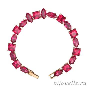 Браслет с цирконами, цвет рубин, покрытие: золото - фото 4517