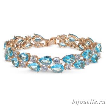 Браслет с цирконами, цвет голубой, белый, покрытие: золото - фото 4524