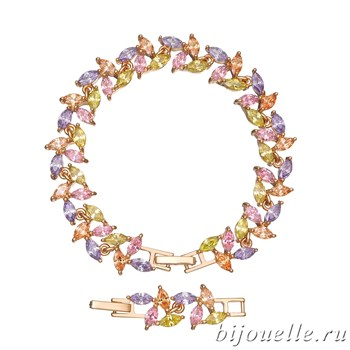 Браслет с цирконами, цвет микс, покрытие: золото - фото 4526