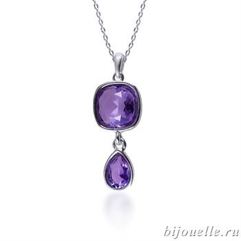 Кулон с кристаллами Swarovski, цвет фиолетовый, покрытие: родий - фото 4541