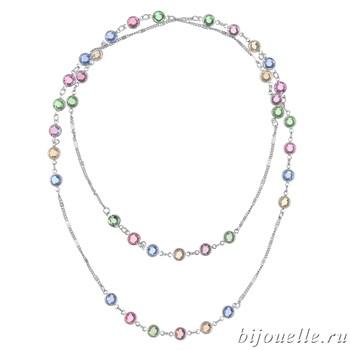 Кулон с кристаллами Swarovski, цвет микс, покрытие: родий - фото 4543