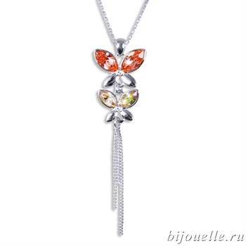 Кулон с кристаллами Swarovski, цвет микс, покрытие: родий - фото 4546
