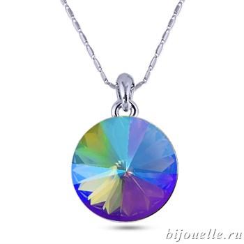 Кулон с кристаллами Swarovski, цвет зелено-фиолетовый хамелеон, покрытие: родий - фото 4550