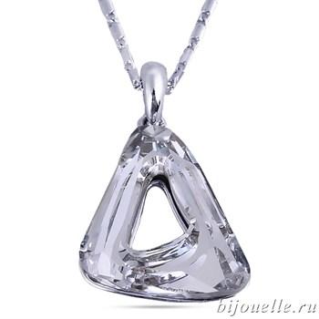 Кулон треугольный с кристаллами Swarovski, цвет белый, покрытие: родий - фото 4552