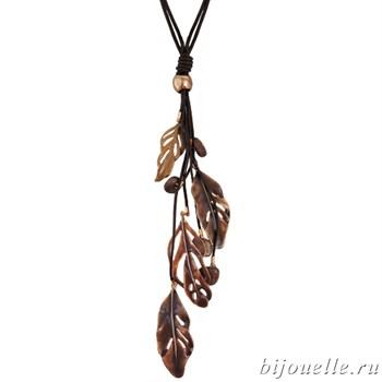Кулон на кожаном шнурке с эмалью и камнями, цвет коричневый, покрытие: серебро - фото 4556