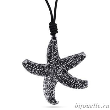 "Кулон ""Морская звезда"" на черном кожаном шнурке, покрытие: серебро - фото 4564"