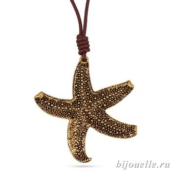"""Кулон """"Морская звезда"""" на коричневом кожаном шнурке, покрытие: золото - фото 4566"""