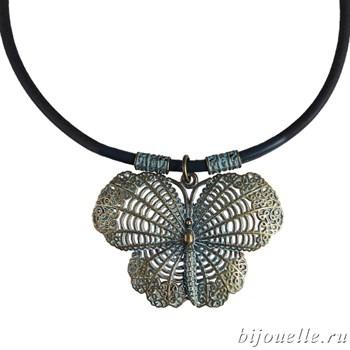 "Кулон ""Бабочка"" на синем кожаном шнурке, покрытие: бронза - фото 4570"
