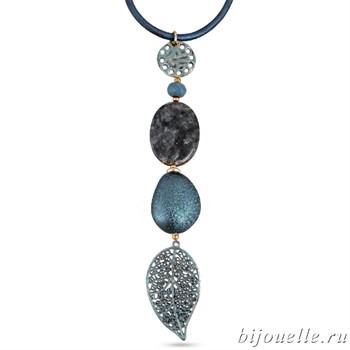 Кулон с натуральными камнями и эмалью на кожаном шнурке, цвет синий, покрытие: бронза - фото 4574