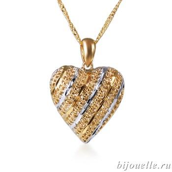 "Кулон ""Сердце"" на цепочке, покрытие: золото - фото 4584"