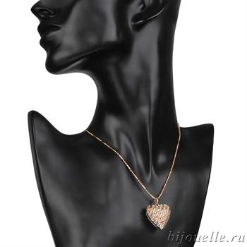 "Кулон ""Сердце"" на цепочке, покрытие: золото - фото 4585"