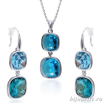 Комплект: кулон, серьги с кристаллами Swarovski, цвет голубой, покрытие: родий - фото 4595