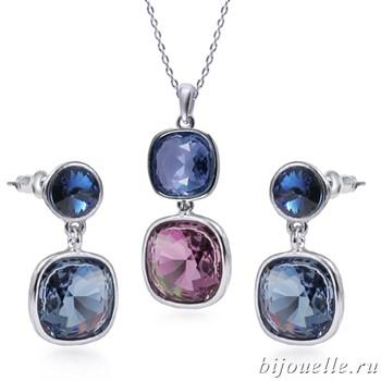 Комплект: кулон, серьги с кристаллами Swarovski, цвет лазурно-серый, сиреневый, покрытие: родий - фото 4597