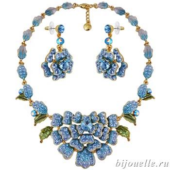Комплект: колье, серьги с кристаллами Swarovski, цвет микс, голубой, покрытие золото - фото 4599