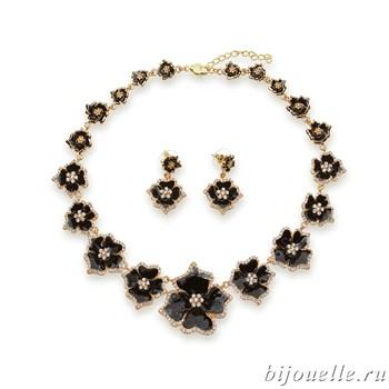 Комплект: колье, серьги с белыми кристаллами Swarovski и черной эмалью, покрытие золото - фото 4601