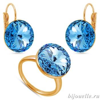 Комплект: кольцо, серьги с кристаллами Swarovski, цвет голубой, покрытие: золото - фото 4607