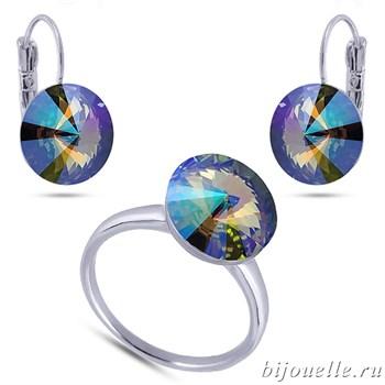 Ювелирная бижутерия: кольцо и серьги со Сваровски зелено-фиолетовый хамелеон, белое золото - фото 4609