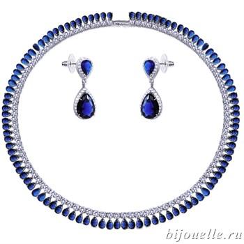 Комплект: колье, серьги с белыми/синими цирконами, покрытие: родий - фото 4625