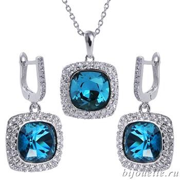 Комплект: кулон, серьги с кристаллами Swarovski, цвет белый, синий, покрытие: родий - фото 4635