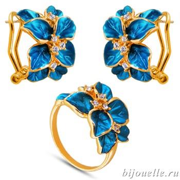 Комплект: кольцо, серьги с кристаллами Swarovski и синей эмалью, покрытие: золото - фото 4637