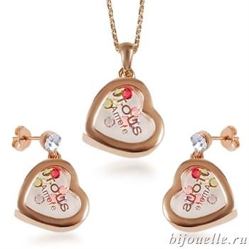 """Комплект """"Сердечки"""": кулон, серьги с кристаллами Swarovski, цвет микс, покрытие: родий - фото 4638"""