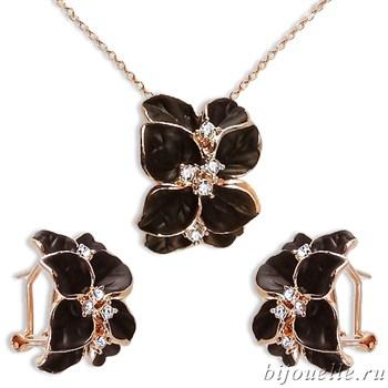 Комплект: кулон, серьги с кристаллами Swarovski и черной эмалью, покрытие: золото - фото 4640