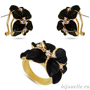 Комплект: кольцо, серьги с кристаллами Swarovski и черной эмалью, покрытие: золото - фото 4643