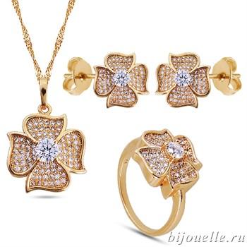 Комплект в стиле Ван Клиф: кулон, серьги, кольцо с белыми цирконами, покрытие: золото - фото 4649