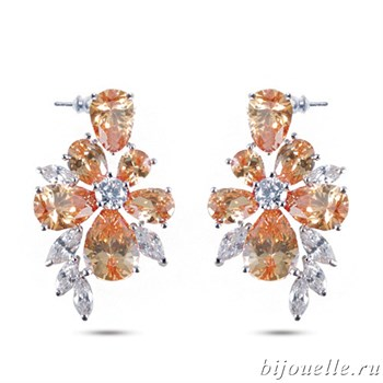 Серьги с цирконами, цвет шампань, покрытие: родий - фото 4685