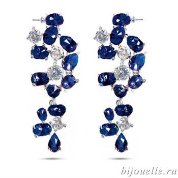 Серьги с цирконами, цвет белый, синий, покрытие: родий - фото 4701